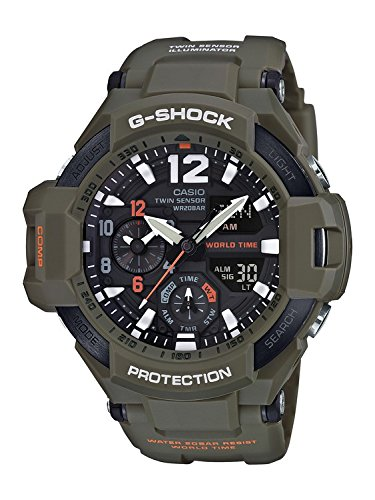 Casio Men's G Shock GA1100KH-3A Green Plastic Quartz Sport Watch