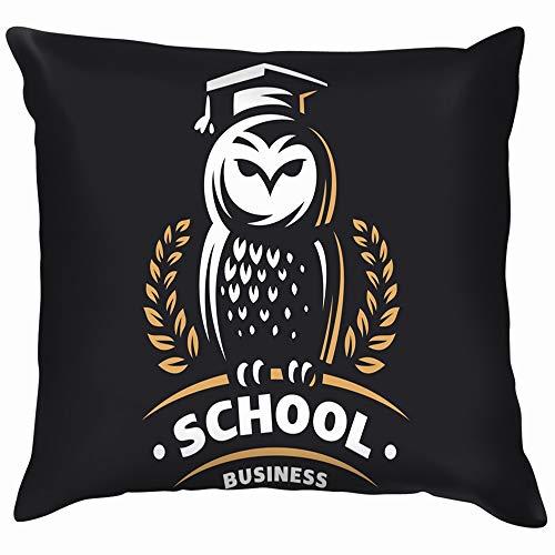 beautiful& Owl Education Emblem Animals Wildlife Soft Cotton Linen Cushion Cover Pillowcases Throw Pillow Decor Pillow Case Home Decor 18X18 Inch