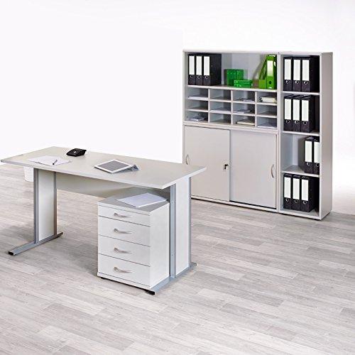 Brombel Set Bro hellgrau Schreibtisch Arbeitstisch Aktenschrank Schrank Regal