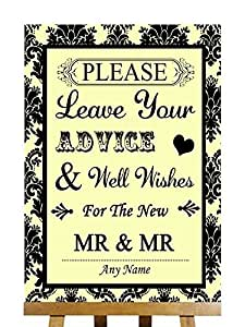 Format A3–Jaune-Damas noir Livre d'or personnalisable pour mariage Wish arbre signe Gay