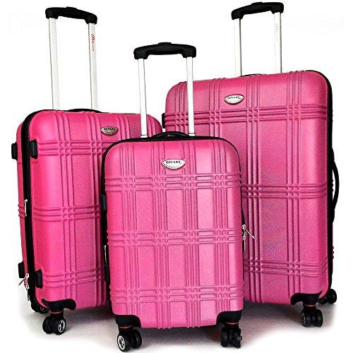 3-tlg. Kofferset ABS Hartschale, erweiterbares Volumen, Alu-Teleskopgriff, 4 Zwillingsrollen Magenta