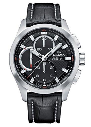 DELMA - Herren-Chronograph Analog Automatik Leder schwarz - 407107