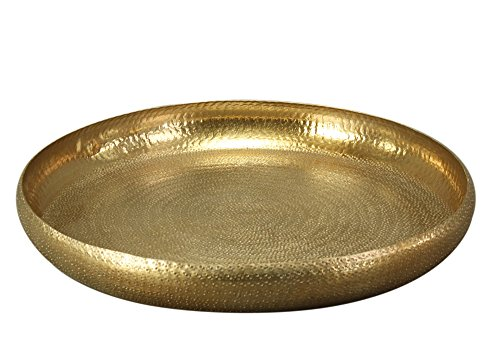 Tablett gold, gehämmert, rund, 53 cm, groß