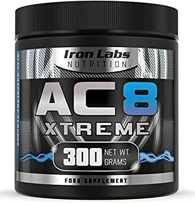 AC8 Xtreme | Blue Raspberry | Pre Workout Supplement | Energy & Muscle | 20-40 Servings | 300 grams by Iron Labs Nutrition