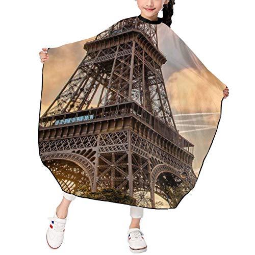 Haarschnitt-Schürze, Eiffel Tower In Sunset Kid Supplies Tie Dye Perfection Colorful Fireworks Cape Cover Cloak Hair Dyed Hair Waterproof Cloth Anti-Static Hairdressing (Schneiden Eiffel Tower)