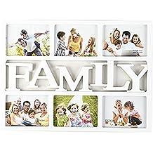 """Collage de Fotos Marco de La Pared del ''Family"""" o 'Home"""",AZXES, Marco de Fotos de Apertura Múltiple Amor de la familia Cuadros de Decoración de Plástico para el Hogar (Family, Blanco)"""