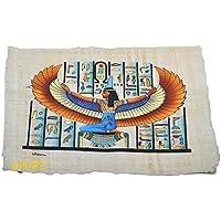 Papiro egipcio original de Isis diosa del amor, hecho y pintado a mano en Egipto, mide aproximadamente 33 x 43 cm .