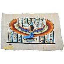 Papiro egipcio original de Isis diosa del amor, hecho y pintado a mano en Egipto