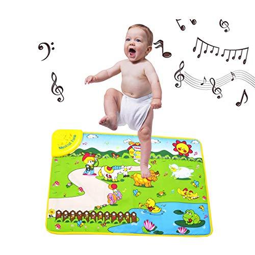 Dkings Spielmatte, Spielesicherheit Lernen Singen Spielzeug für Kinder, Spielmatte für Kleinkinder, Krabbeln Babyspielzeug Lernentwicklung, Tiere und Geräusche von Bauernhofaktivitäten (Sicherheits-badewannen-trittstufen)