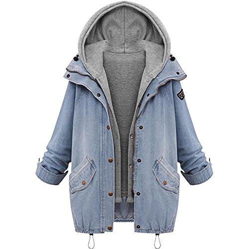 Damen Jacke Mäntel 2pcs,Tonsee Frauen Denim Collar Lose Kapuzenmantel Jacke +Westen Casual Trench Parka Outwear (M)