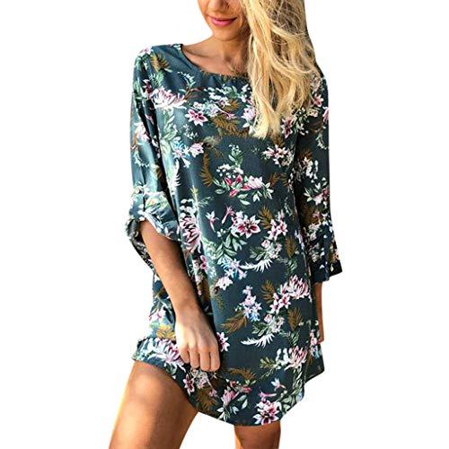 Mini-Kleid für Frauen Sommer T-Shirt Bohemia Blumenmuster Rundhalsausschnitt Tunika Selbstbinden halben Ärmel Bluse Kleider - Mehrfarbig - Klein - Mini Petite Rock