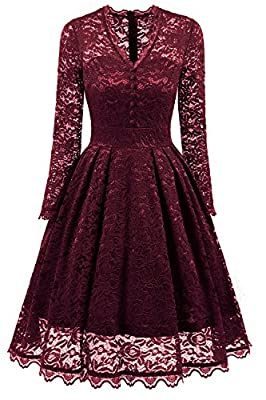 NALATI Women Summer Dress Vintage 1950s Floral Print Lace Long Sleeve V Neck Formal Evening Prom Party Cocktail Swing Midi Dress