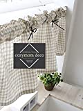 Cozymomdeco, tenda di cotone naturale fatta a mano, tendina modello caffetteria, stile rustico, per la casa, 1 pz., 30 x 135 cm (larghezza x lunghezza)