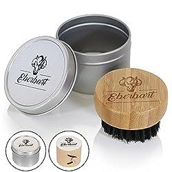 Eberbart Reise-Bartbürste mit 100% Wildschweinborsten inkl. Transportbox + Gratis-eBook – Ideal für die tägliche Bartpflege (Aludose)