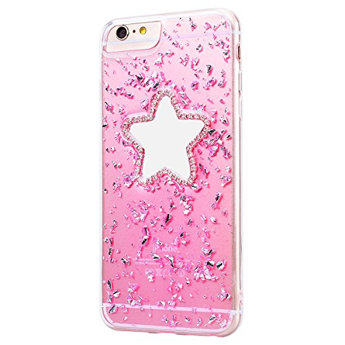 Custodia iPhone 6 Plus / iPhone 6S Plus, VemMore Case di Specchio Stella Morbido Trasparente Silicone TPU Cover con 3D Diamante Luccichio Strass Patterned Design Caso Backcase del Ultra Sottile Bling  Rosa
