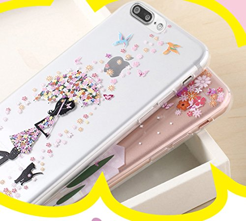 iPhone 7 Plus Case (5.5), iPhone 7 Plus Custodia, Bonice TPU trasparente Ultra Slim Thin 3D Case + Stilo Penna - butterfly Girl model 19