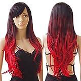 S-noilite ® Femmes de 69,8cm de long bouclés Tête complète des Perruques Cosplay Party quotidien Déguisement synthétique Noir au Rouge