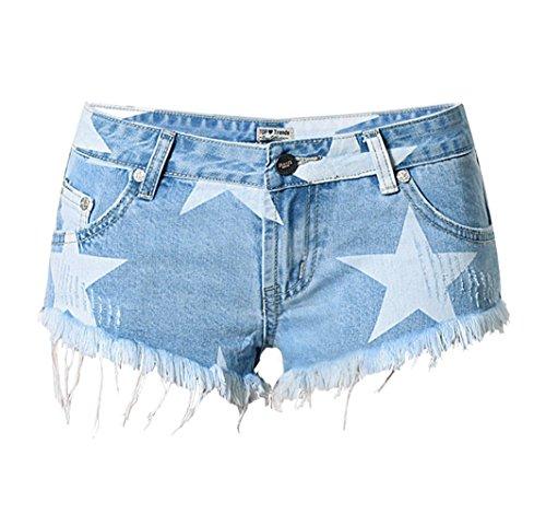 Stars Womens Short (iRachel Damen Short Hotpants Demin Short kurze Hose Loch Hose Denim Lochjeans Jeans)