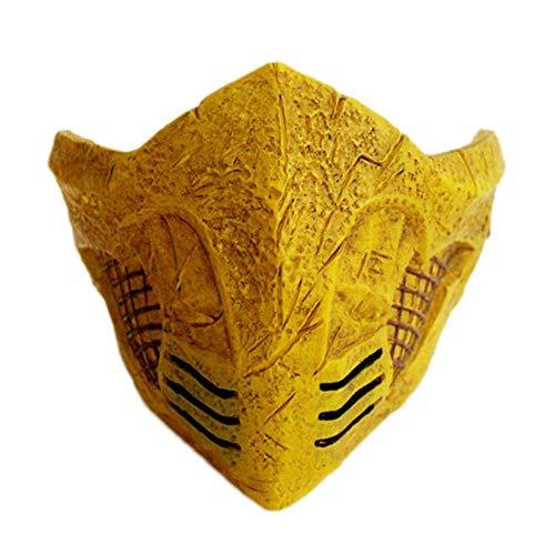 K-Flame Halloween Cosplay Mortal Kombat Masken Erwachsenen Kostüm Zubehör für Männer Karneval Ostern Party Prop,Yellow,18 * 17 * 12CM
