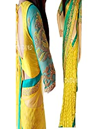 Sunshine Fashion Women's Net Saree With Blouse Piece (Sunsa1929_Yellow)