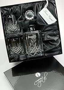 Buckingham Crystal 3-Piece Square Whisky Decanter Set