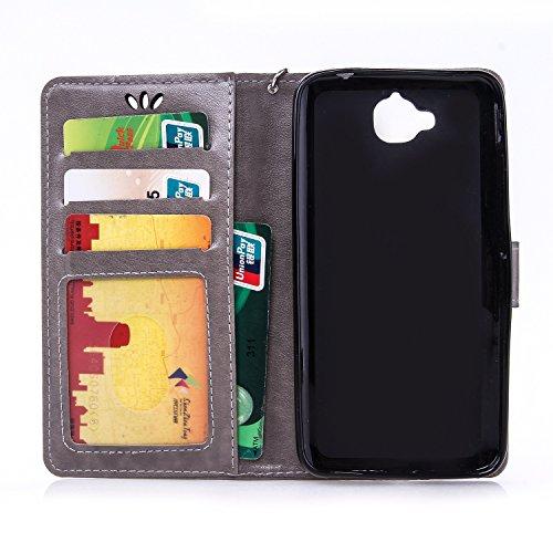 Wkae Case Cover Huawei Y6 PRO Case Cover Avec Lanyard Strap Liquide Carte Slots, Premium PU Case Housse en cuir Case papillon Embossed Pour Huawei Y6 PRO ( Color : Red , Size : Huawei Y6PRO ) Gray