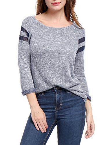 Allegra K Pull Femmes Insert Maille Manches Raglan Decolleté T-Shirt blue