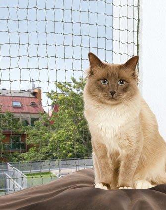 FamilyZoo Katzennetz | Schutznetz | 6 x 3m | drahtverstärkt | Nylon |olivgrün
