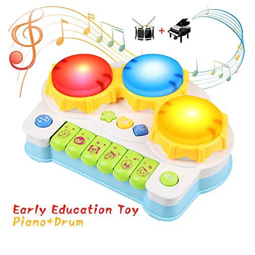 BelleStyle Musikspielzeug für Kinder,Spielzeug Schlagzeug Klavier Spielt Tastatur Kleinkind Klavier,Elektronisches Spielzeug für Musikalische Früherziehung Geburtstagsgeschenk für 3Jahr Kinder, Blau