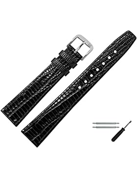 MARBURGER Uhrenarmband 10mm Leder Schwarz - Rindsleder, Eidechse Prägung - Inkl. Zubehör - Ersatzarmband, Schließe...