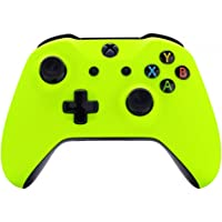 eXtremeRate Lime Yellow Faceplate Cover, Soft Touch Front Housing Shell Case, Comfortable Soft Grip Replacement Kit for…