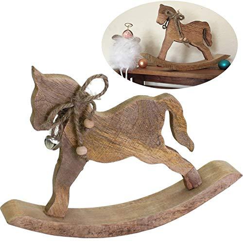 LS-LebenStil Holz Deko-Figur Schaukelpferd Braun Glocke 23cm Weihnachts-Deko