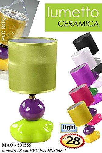 Idea casa: LUMETTO base in CERAMICA con PARALUME INCLUSO. Colori assortiti (verif la disponibilità). Altezza 28 cm