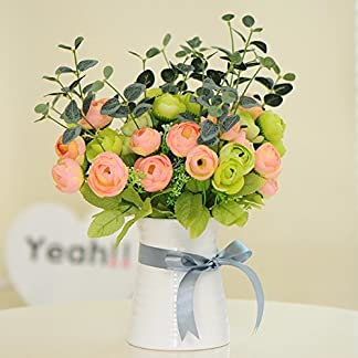 XCZHJ Flores Decorativas Artificiales Camelia Maceta Artificial Planta Sala de Estar decoración de Mesa Estilo rústico Rosa Verde Los Productos de Flores Incluyen:Flores Artificiales.