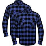 Festnight 2tlg. Herren Arbeitshemd Herrenhemd Holzfäller Hemd Flanellhemd Langarmhemd Kariert Blau-Schwarz Größe XL
