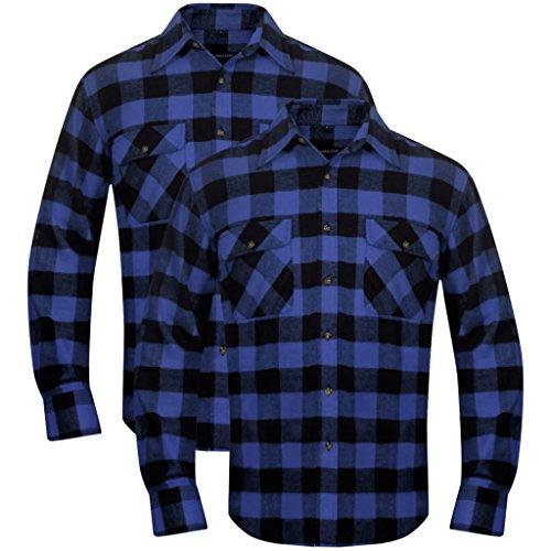 en Arbeitshemd Herrenhemd Holzfäller Hemd Flanellhemd Langarmhemd Kariert Blau-Schwarz Größe XL (Holzfäller Outfits)
