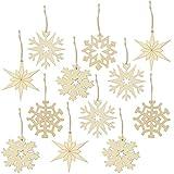 COM-FOUR® 12x Decorazioni Natalizie in Legno in Vari Disegni, Decorazioni per Alberi di Natale con Stelle e Fiocchi di Neve, Ø 8 cm (12 Pezzi - Fiocchi di Neve/Stelle)