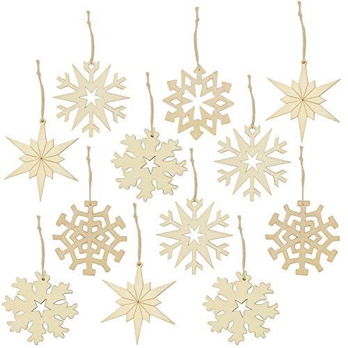 com-four® 12x Holz Christbaumschmuck in verschiedenen Ausführungen, Weihnachtsbaumschmuck mit Sternen und Schneeflocken, Ø 8 cm (12-teilig - Schneeflocken/Sterne) (Die Dekoration Mit Schneeflocken)