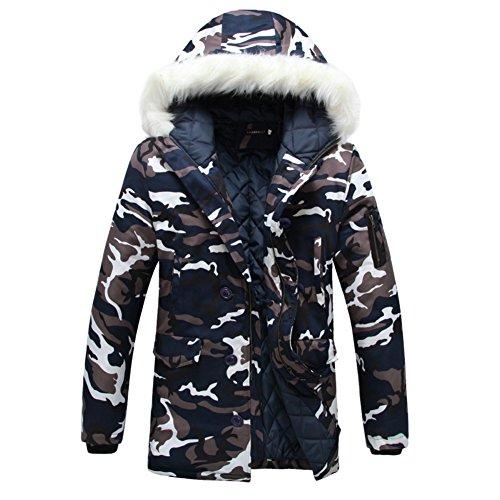 SaiDeng Herren Lange Camouflage Winterjacke Übergangsjacke Outwear Warm Kapuzenjacke