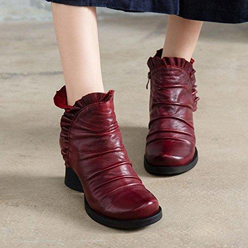 WYWQ Donna Tacco alto con tacco vera pelle Chunky Short Boots Autunno retrò Pulisci stivali colorati Resistente allusura Cerniera laterale Impermeabile antiscivolo rock red