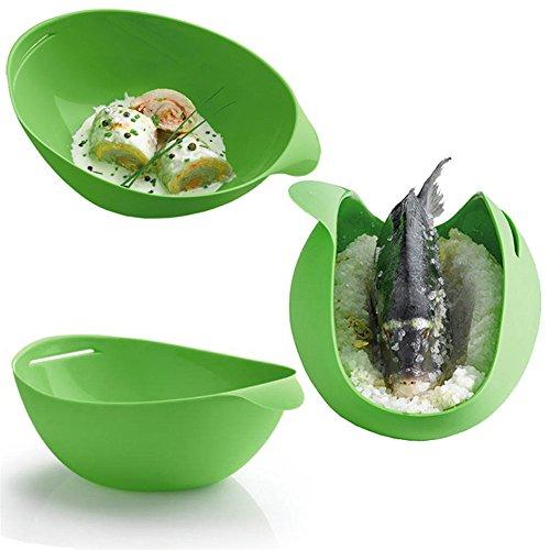 valink Küche Gadgets Silikon Fisch faltbar Dampfgarer, Mikrowelle Gemüse Steamer Korb Ei Fisch Herd Backen Kochen Zubehör Supplies-29,3x 17x 3,5cm