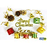 UNIq 2 Feet Christmas Tree - 32 Pcs High Quality Christmas Tree Decorations Set (Bells, Gifts, Drums, Pine Cones, Candy Sticks & Christmas Hanging) (2 Feet Decoration)