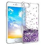 KOUYI Cover iPhone 8/7, 3D Glitter Chiaro Liquido Silicone TPU Bumper Telefoni Telefono Cellulari Protezione Cover,Luxury 3D Bling Protettiva Case Custodia per Apple iPhone 8 / iPhone 7 (Viola)