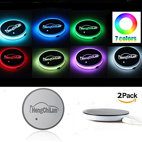 Preisvergleich Produktbild K-Bright 2pcs Drink Cup Coaster Mat,7 Colors changing Car LED Atmosphere Lights,Waterproof Car Cup Mat Coaster Light,Led Sensor Light with USB Rechargeable