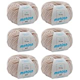 Merinowolle * Merino Wolle mandel (Fb 9904) * 6 Knäuel beige Merinowolle zum Stricken -Strickgarn Merino + GRATIS MyOma Label - 50g/120m - MyOma Wolle - weiche Wolle - Merino Garn