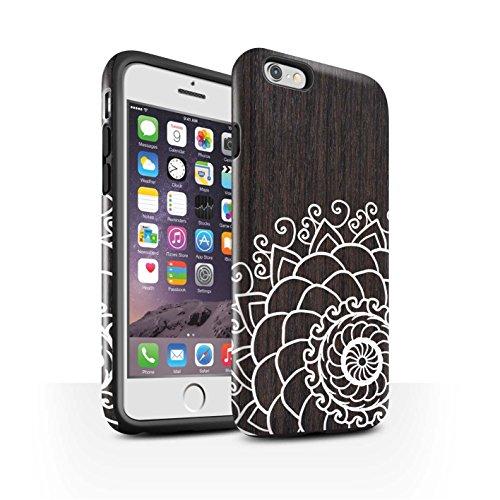 STUFF4 Glanz Harten Stoßfest Hülle / Case für Apple iPhone 5C / Zart Damast Muster / Fein Spitzenborte Holz Kollektion Henna