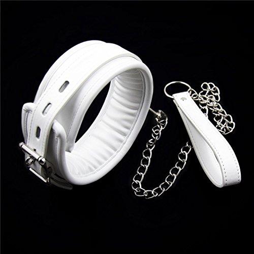 Z-one 1 Halsband aus weichem Leder, modisch, Punk-Stil, Gothic-Stil, mit Ringhalskette, Weiß -