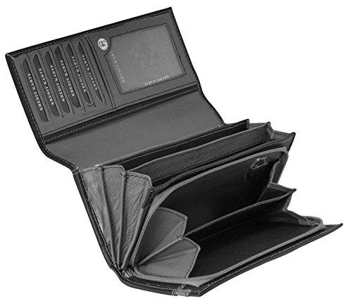 Damen Geldbörse Leder Lang mit viele Kreditkarten Fächer Frauen Portemonnaie Portmonee Echtleder Geldtasche Brieftasche Franko BB12 (Schwarz Grau)