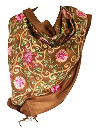 Premium Lush bordado pashmina sentir bufandas mantón estola envolver cabeza bufanda (Caramelo)