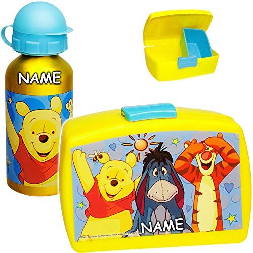 alles-meine.de GmbH Set: Lunchbox / Brotdose + Trinkflasche -  Disney - Winnie Pooh  - inkl. Name - mit extra Einsatz / herausnehmbaren Fach - Sportflasche - Brotbüchse Küche E.. (Box Toy Winnie The Pooh)